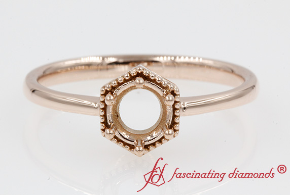 Hexagon Ring Setting Rose Gold