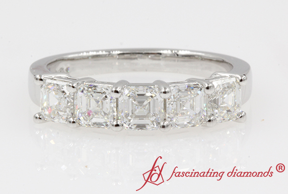 Asscher Cut 5 Stone Wedding Band