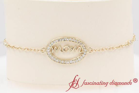 14K Yellow Gold Mom Diamond Bracelet