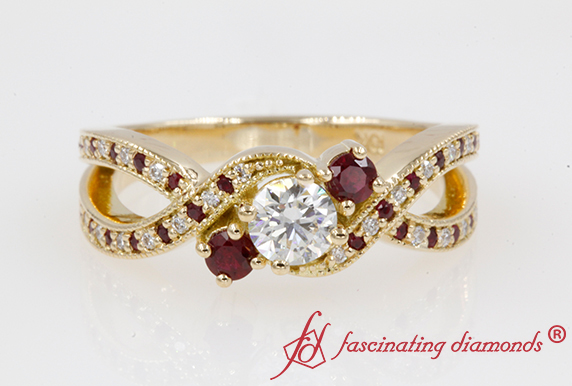 Milgrain Three Stone Pave Ruby Ring