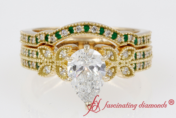 Antique Emerald Wedding Ring Set