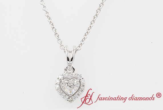 Halo Heart Pendant In White Gold