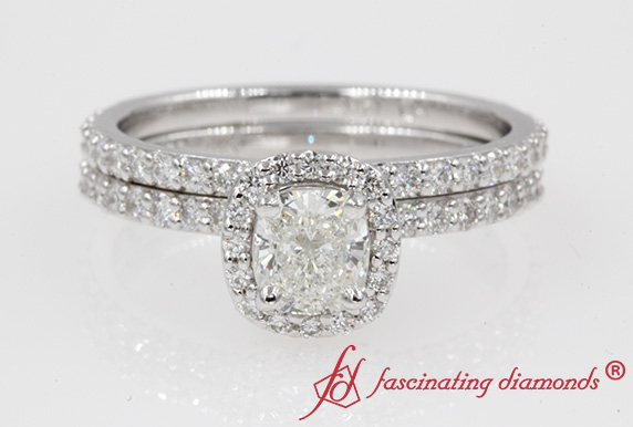 Pave Wrap Diamond Halo Bridal Ring Set