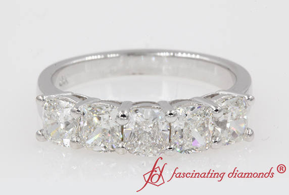 Cushion Diamond 5 Stone Band