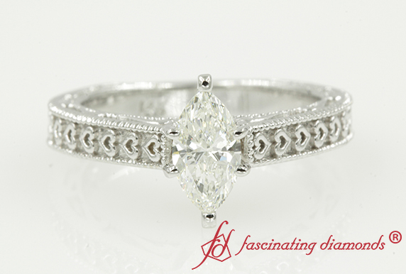 Antique Heart Design Diamond Ring