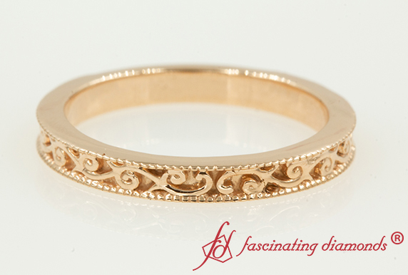 14K Rose Gold Filigree Wedding Band
