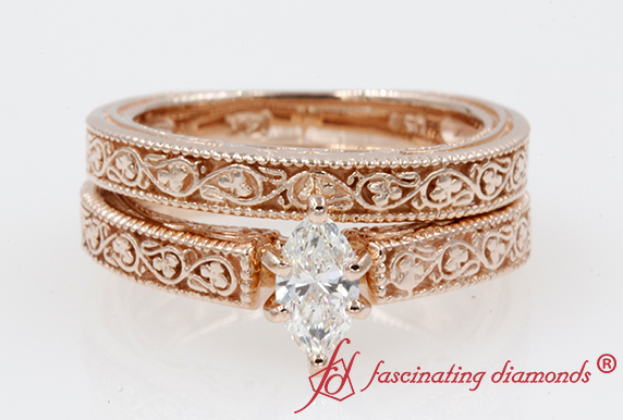 Filigree Bridal Set Rose Gold