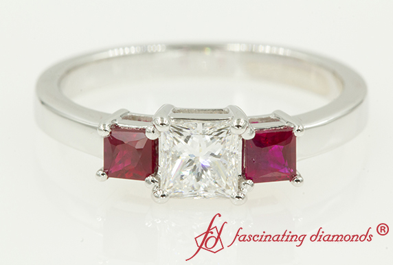 3 Princess Cut Pink Sapphire Engagement Ring