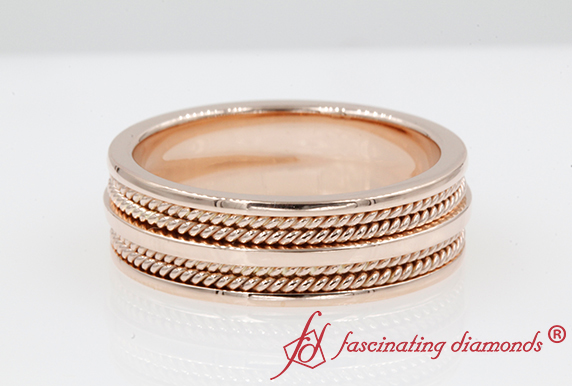 7MM Mens Rope Wedding Band In 14K Rose Gold