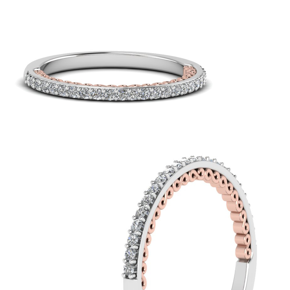 Delicate Two Tone Filigree Diamond Band