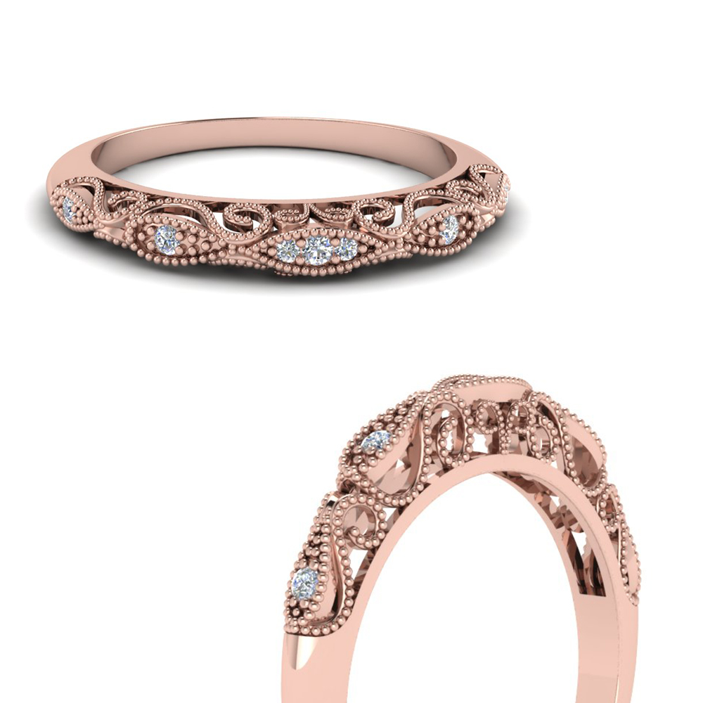 Paisley Filigree Diamond Wedding Band