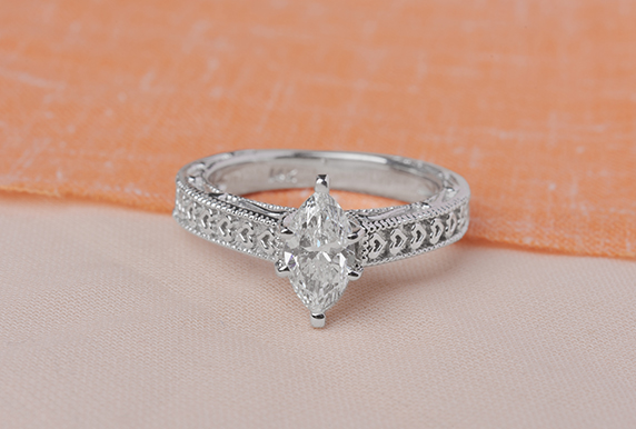 Heart Design Solitaire Engagement Ring