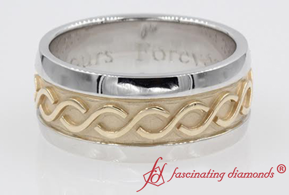 Mens Filigree Two Tone Gold Band