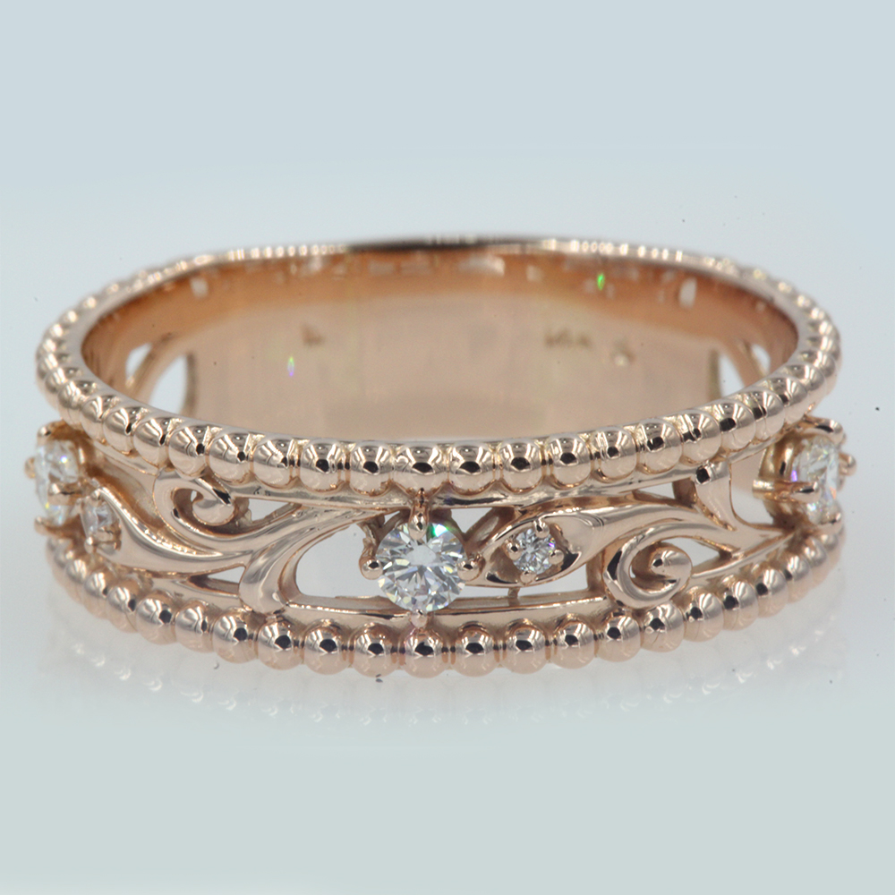Filigree Floral Milgrain Diamond Band