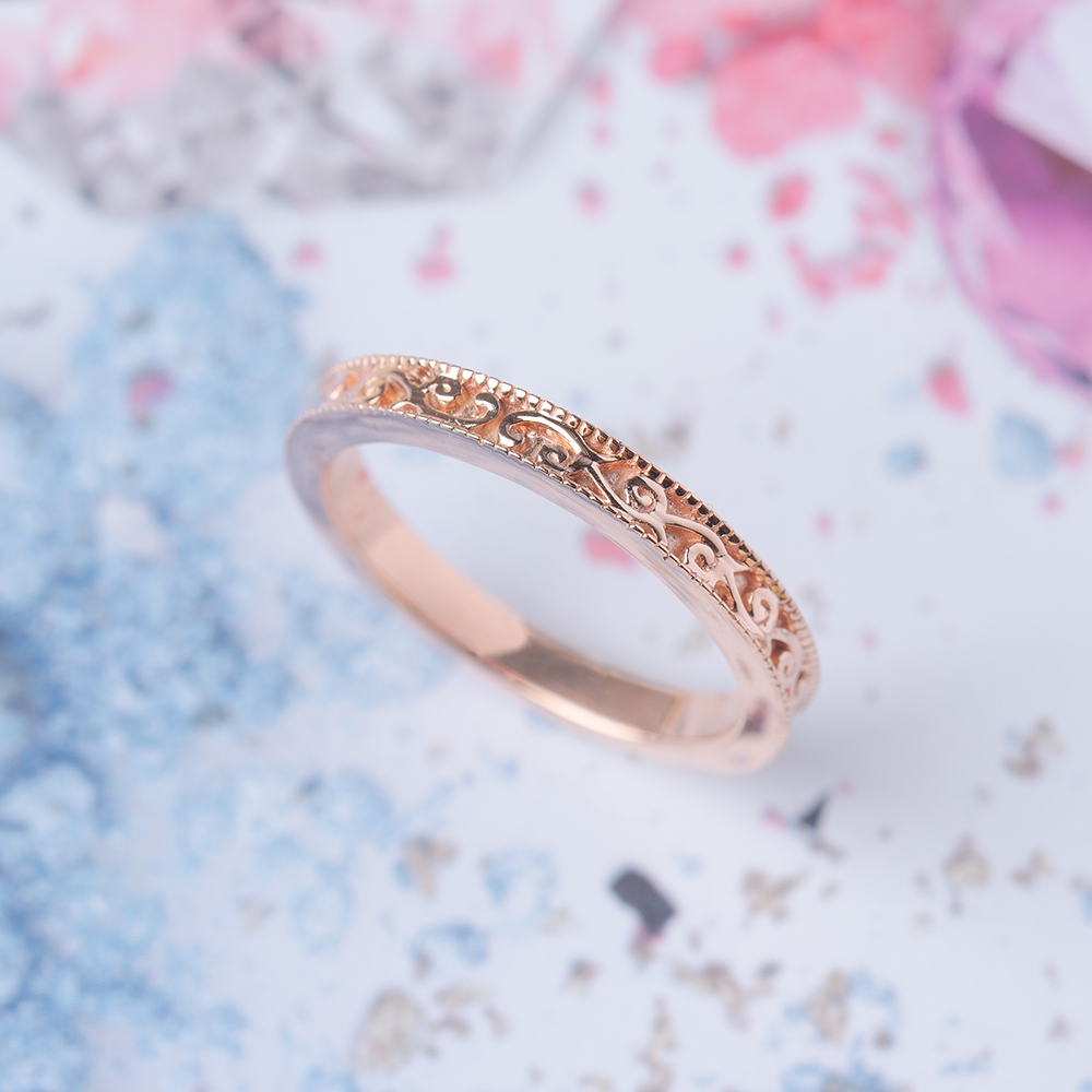 Hand Engraved Filigree Wedding Band
