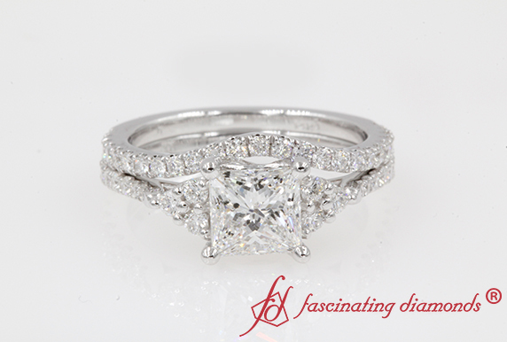 Cathedral Princess Cut Ring Set