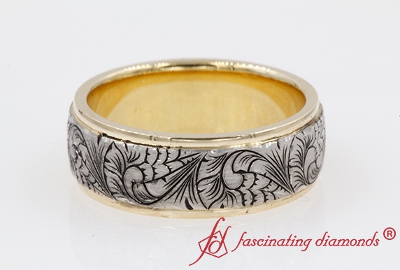 2 Tone Engraved Mens Wedding Band