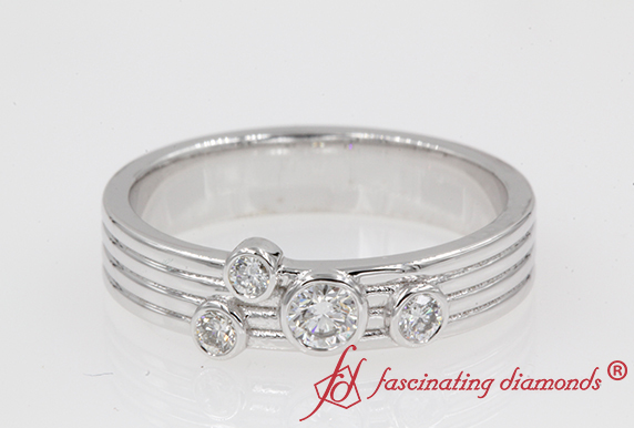 Unique Bezel Set Womens Band