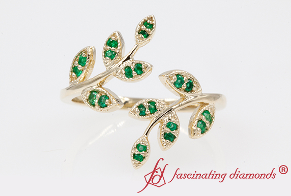 Open Leaf Emerald Engagement Ring