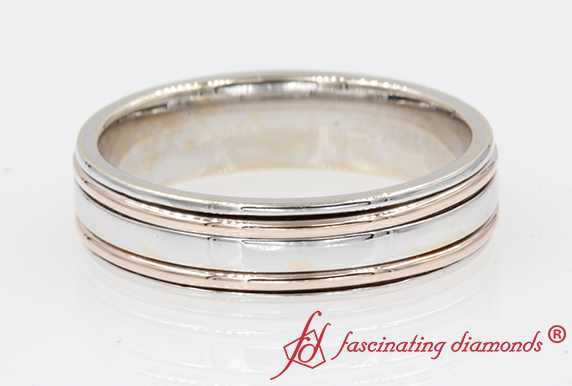 Men Wedding Band 2 Tone