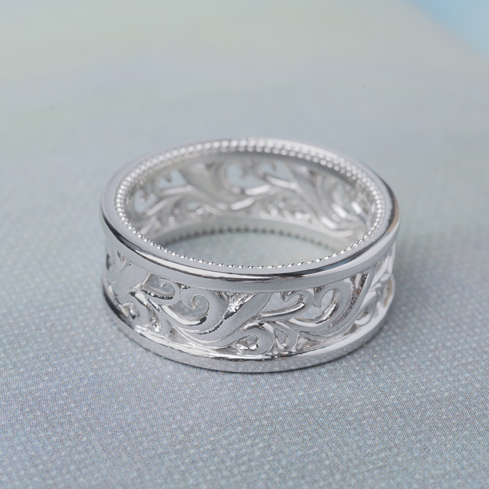 Antique Filigree Wide Wedding Band