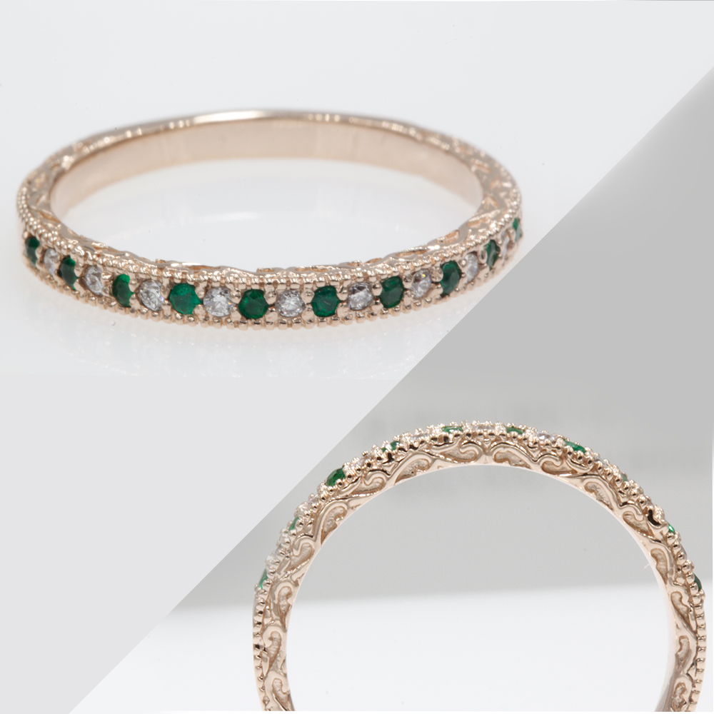 Milgrain Filigree Band With Emerald