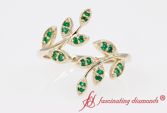 Open Leaf Emerald Wedding Ring