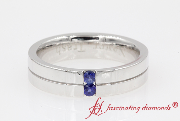 Sapphire Mens 2 Stone Band