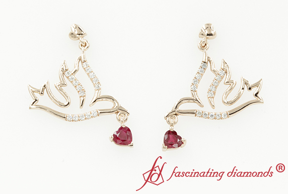 Diamond Bird Drop Earring With Ruby