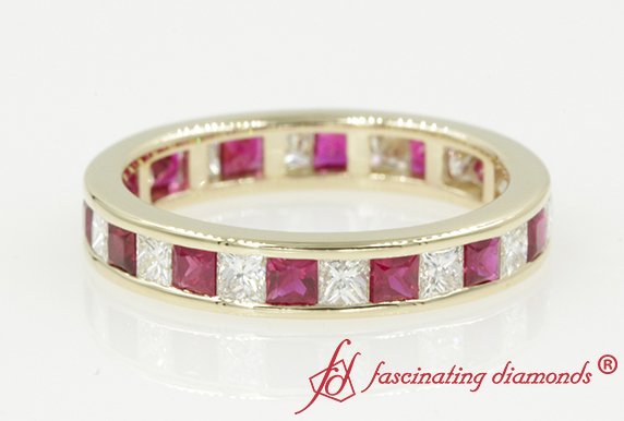 Princess Cut Channel Eternity Band With Ruby In 14K Yellow Gold