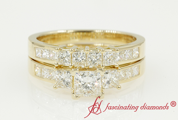 Princess Cut Channel Bridal Set