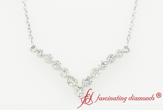 Graduated Diamond V-Necklace