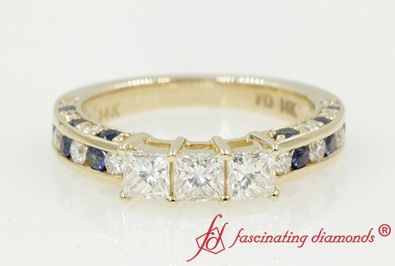 3 Princess Cut Band With Sapphire