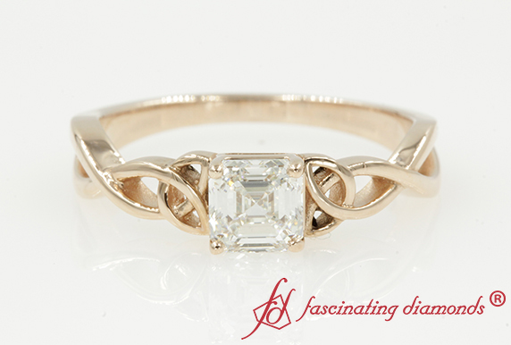 Irish Split Asscher Solitaire Ring