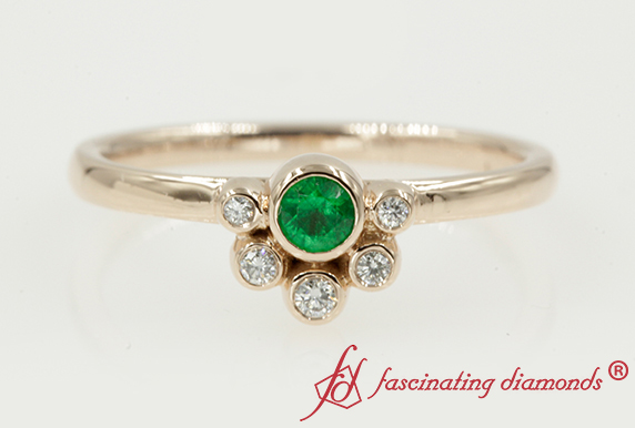 Unique Bezel Set Emerald Petite Ring
