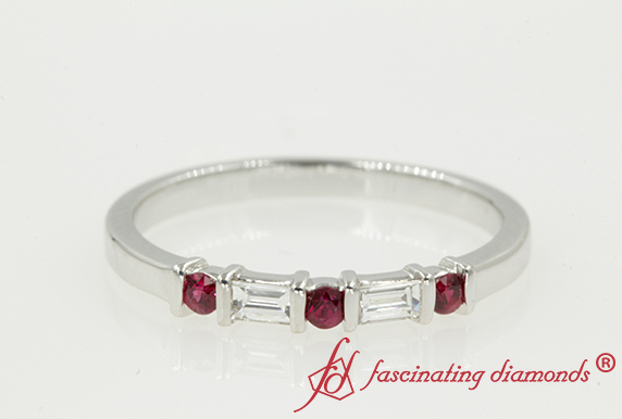 Baguette Bar Wedding Band With Ruby