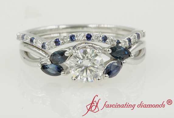 Twisted Bridal Set With Sapphire