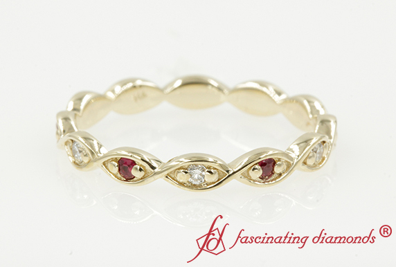 Infinity Wedding Band With Ruby