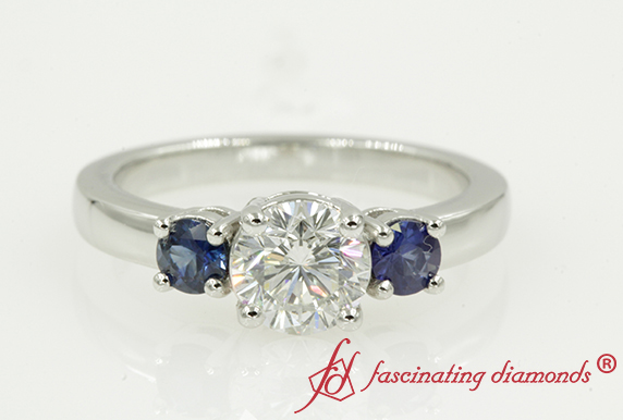 Three Stone Ring With Sapphire