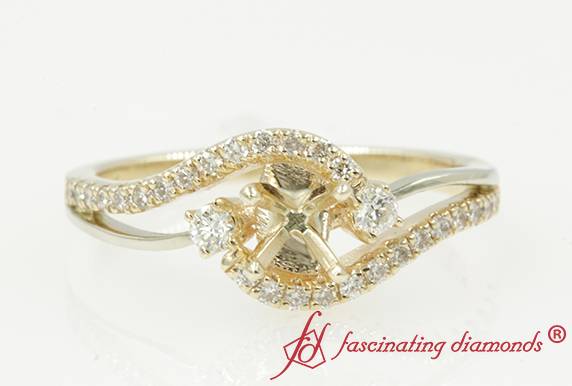 Swirl 3 Stone Diamond Ring Setting