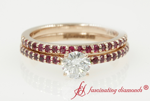 Petite Ruby Wedding Ring Set