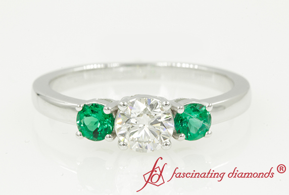 Three Stone Ring With Emerald