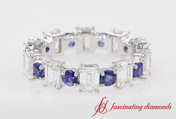 Emerald Cut Diamond And Sapphire Band