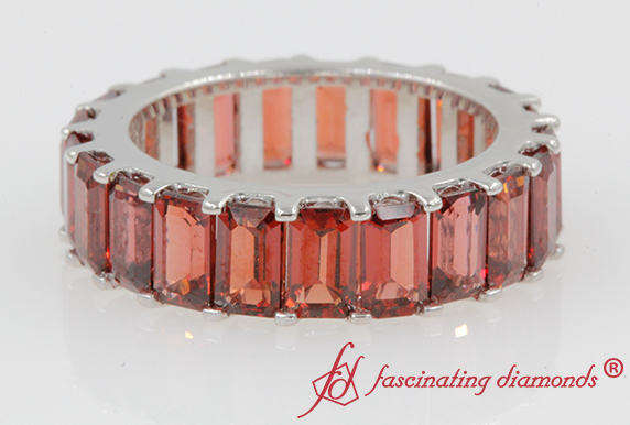 Garnet Eternity Wedding Band