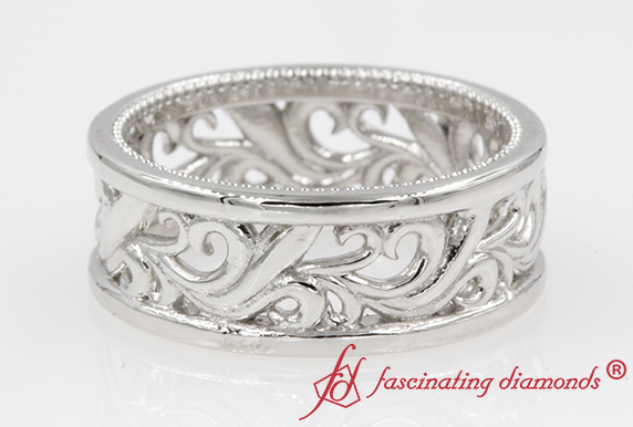 White Gold Mens Filigree Wide Band