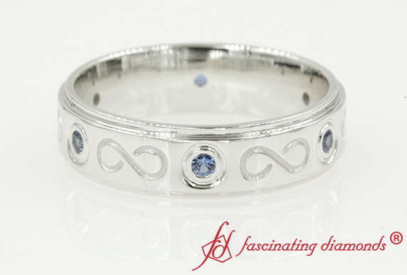 Sapphire Infinity Wedding Band In 18K White Gold
