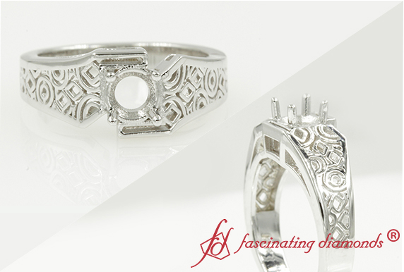 Solitaire Filigree Ring Without Stone In 14K White Gold