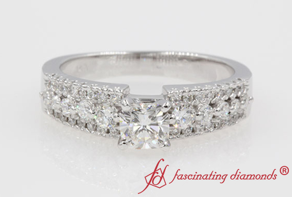 Triple Row Cushion Diamond Ring In 14k White Gold
