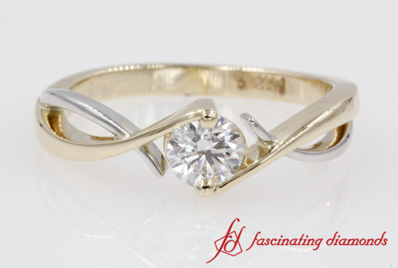 Two Tone Solitaire Diamond Ring