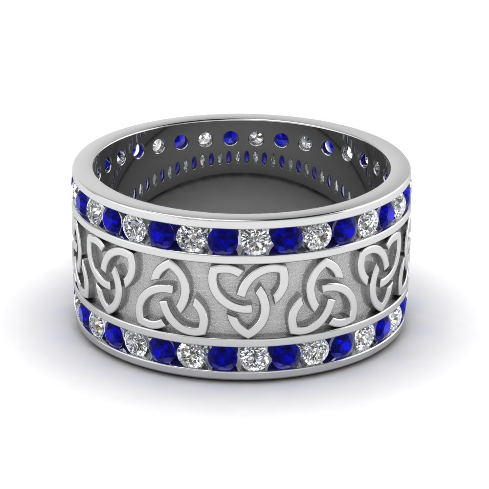 Mens Wedding Bands with Blue Sapphire in 14K White Gold